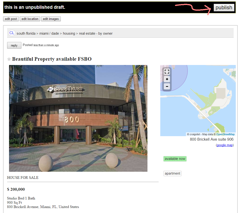 Craigslist Property Listing